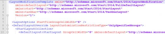 Hinzufügen der fehlenden Namespaces zum Element LayoutModificationTemplate