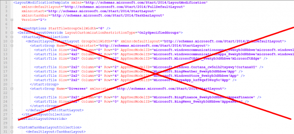 Wenn man nur die Icons auf der Taskbar konfigurieren möchte, dann kann man den Abschnitt für das Startmenü löschen.