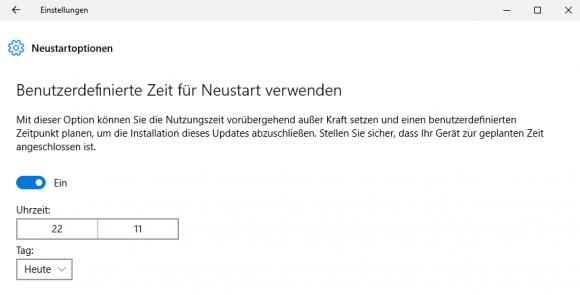 Benutzerdefinierte Zeit für automatischen Neustart von Windows 10