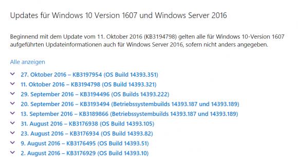 Update-Verlauf für Windows 10 1607