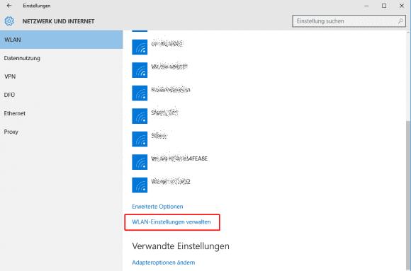 Am Ende der WiFi-Liste findet sich der Link zur WLAN-Verwaltung.