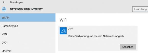 Ändert sich das Passwort des Access Point, dann reagiert Windows 10 mit einer lapidaren Meldung.