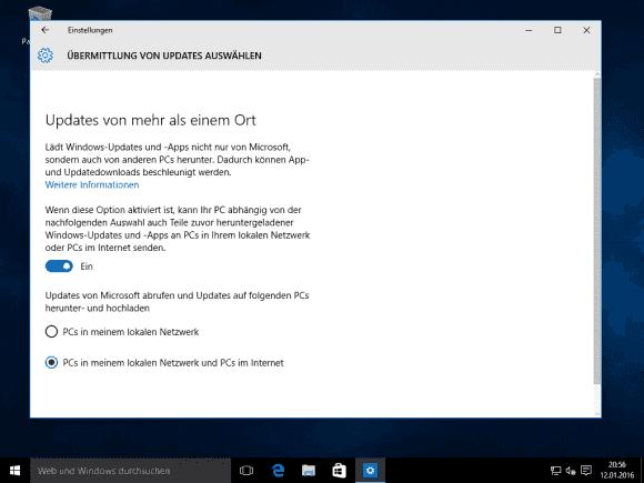 Auf einem frisch installierten Windows 10 ist die Übermittlungsoptimierung per Voreinstellung aktiviert.