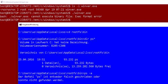 Die bash ist eine wesentliche Komponente des Subsystems für Linux und kann ELF64-Binaries starten.