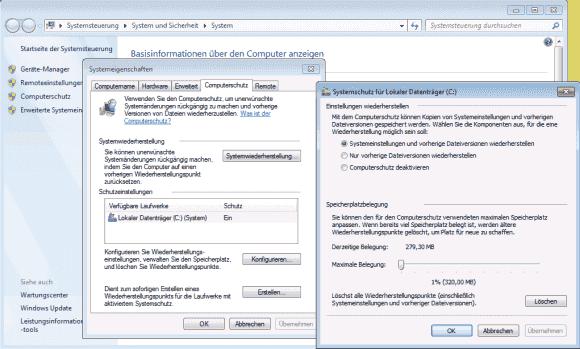 Windows 7 kennt noch Wiederherstellungspunkte, die vorherige Dateiversionen retten können.