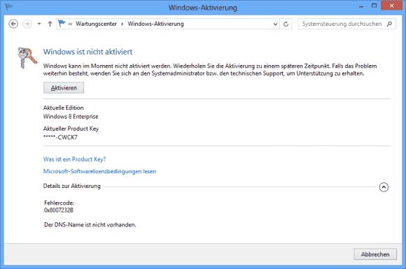 Der Fehler beim Aktivieren von Windows 8 hat nichts mit DNS-Problemen zu tun, vielmehr muss der Product Key geändert werden.