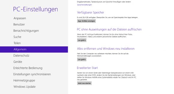 Die Touch-konforme Variante der Startkonfiguration führt über die PC-Einstellungen.