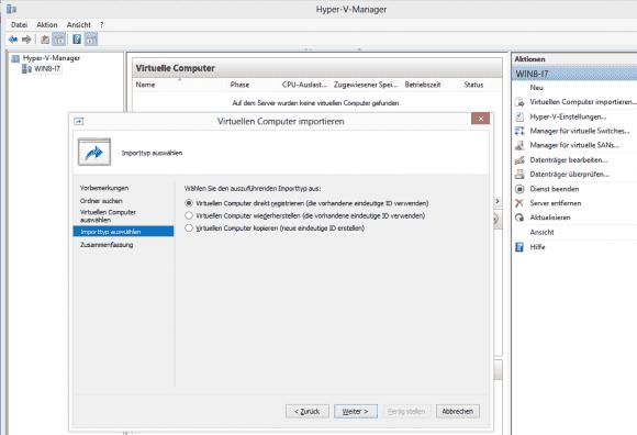 Beim Import einer VM muss man sich zwischen 3 Varianten entscheiden.