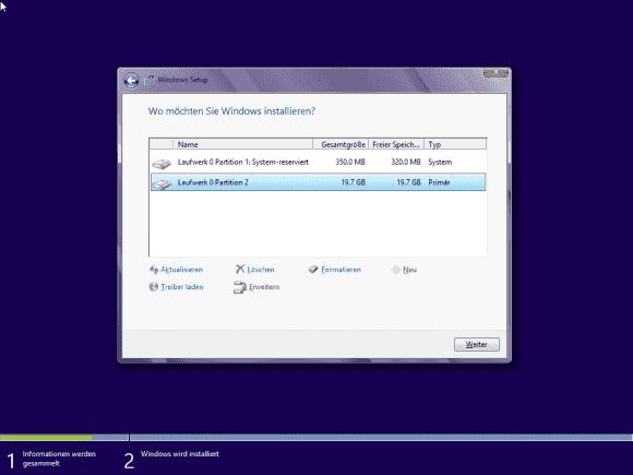 Ein solches Platten-Layout ist ein Alarmzeichen und deutet auf eine BIOS-Installation hin.