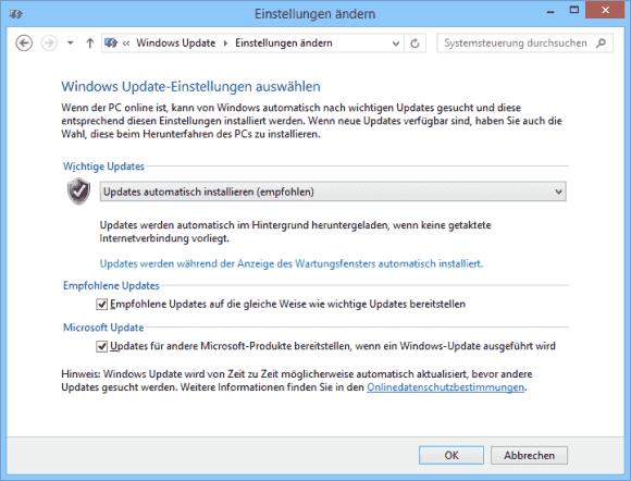 Die in der Abbildung sichtbare Konfiguration von Windows Update reicht, um das Upgrade auf Windows 10 automatisch zu erhalten.