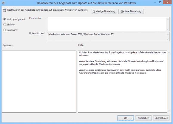 Über eine Gruppenrichtlinie kann man das Update auf Windows 8.1 via Store blockieren.