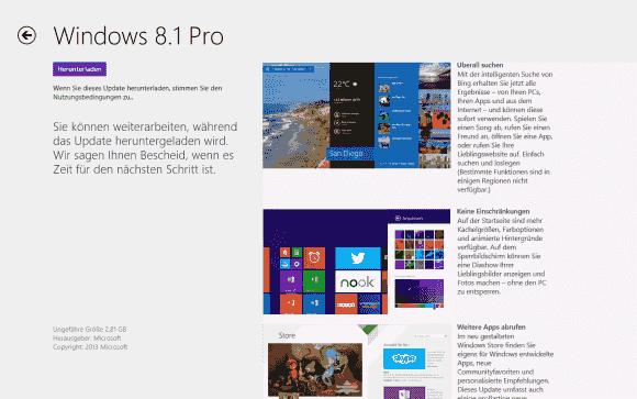 Das Update auf Windows 8.1 ist nur für OEM- und Retail-Versionen von Windows 8 im Store verfügbar.