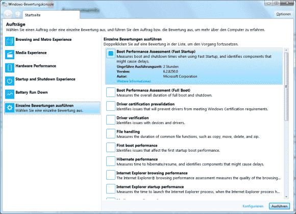 Das Windows Assessment Toolkit enthält eine Reihe von vordefinierten Tests, mit denen sich die Leistung eines PCs messen lässt.