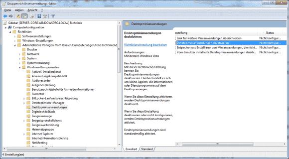 Die Windows-Minianwendungen lassen sich über Gruppenrichtlinien zentral deaktivieren.