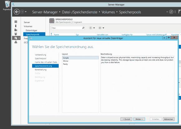Die Konfiguration von Storage Spaces erfolgt von einer Workstation aus mit Hilfe von Server Manager.