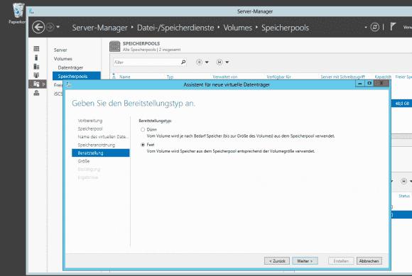 Mit dünner Bereitstellung belegt ein virtueller Datenträger nur den tatsächlich von den Daten benötigten Platz.