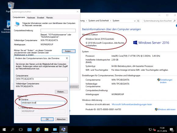 Server 2016 Essentials kann einer bestehenden Domäne beitreten, wenn man den Konfigurations-Wizard abbricht.