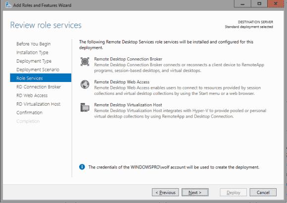 Die Rolle als Server Based Personal Desktop lässt sich derzeit nicht über den Server Manager installieren.