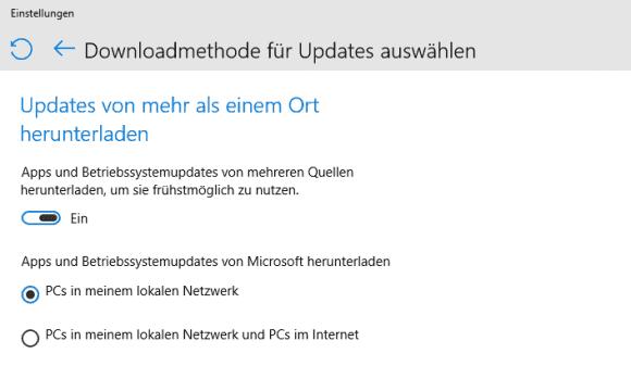 Beim Peer-to-Peer Delivery dienen PCs mit Windows 10 als Cache für Updates und versorgen damit andere Rechner im Netz.