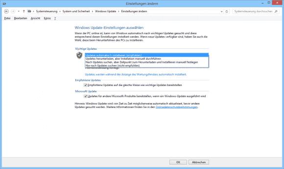 Auf nicht verwalteten PCs kann man den Modus von Windows Update über die Systemsteuerung festlegen.
