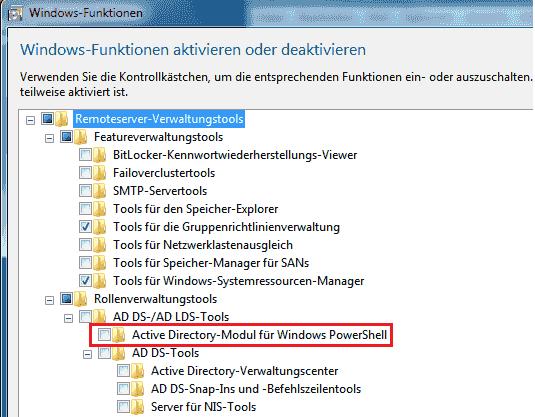 Das Modul ActiveDirectory muss nach der Installation der RSAT aktiviert werden.