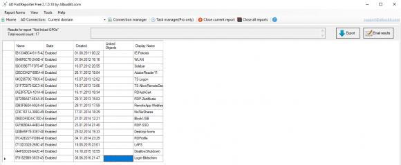 Das Tool erzeugt einfache Reports in einem tabellarischen Layout.