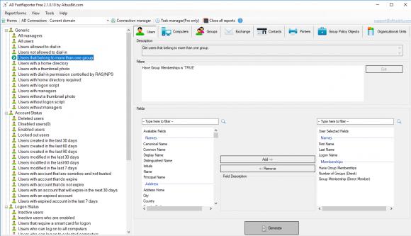 Vorkonfigurierte Berichte für User im Active Directory