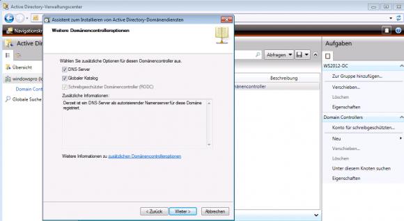 Festlegen, ob der RODC eine Replik von DNS und GC erhalten soll.