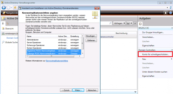 Im erweiterten Modus kann man die Richtlinien für die Kennwortreplikation konfigurieren.