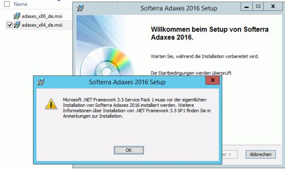 Die Installation von Adaxes erfordert unter anderem das .NET Framework 3.5
