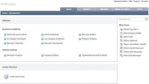 Adaxes bietet eigene konfigurierbare Web-Konsolen für Admins, Helpdesk und Endbenutzer.