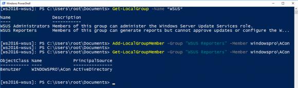 Hinzufügen eines Kontos zur Gruppe der WSUS Reporters mittels PowerShell.