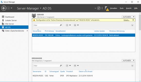 Nach dem Hinzufügen der AD DS erhält man den Hinweis, dass der Assistent für die Konfiguration ausgeführt werden muss.