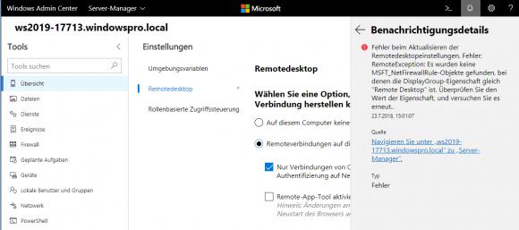 Das Admin Center kann die Firewall-Regeln für Remotedesktop auf einem deutschen Windows nicht freischalten.