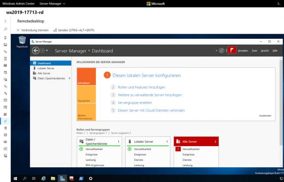 Server Manager im Remotedesktop-Client von Admin Center