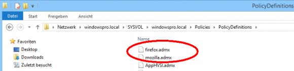 Installation der ADMX-Vorlagen für Firefox in einem Central Store