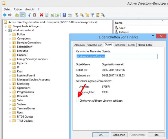 OU vor zufälligem Löschen schützen in Active Directory-Benutzer und -Computer