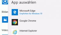 Standard-Browser in der App Einstellungen auswählen