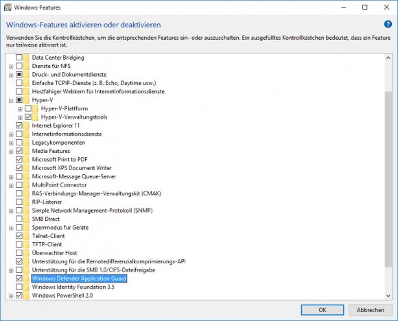 Für die Installation von Application Guard muss man Hyper-V nicht aktivieren.