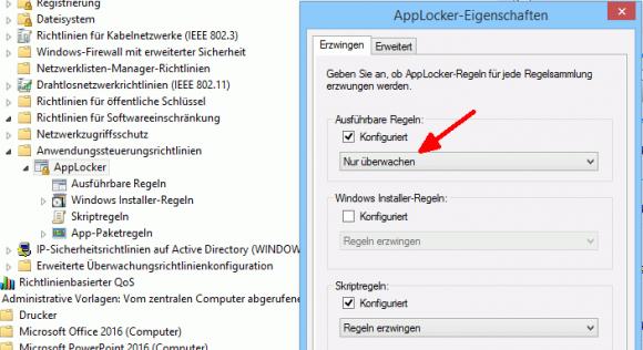 AppLocker erlaubt die bloße Überwachung von Regeln, ohne dass sie erzwungen werden.