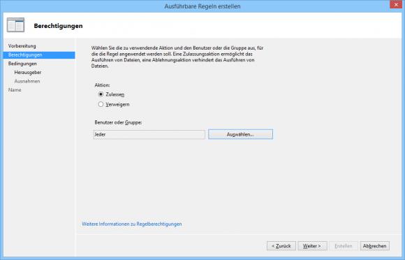 AppLocker-Regel lassen sich an bestimmte Benutzergruppen zuweisen.