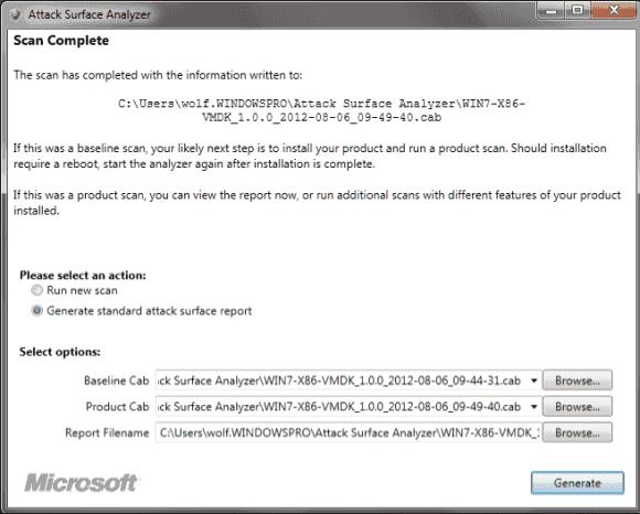Der Attack Surface Analyzer vergleicht den Systemzustand vor und nach einer Software-Installation.