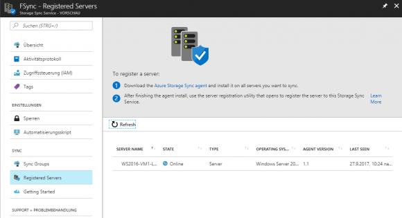 Das Azure-Portal zeigt, welche File-Server für den Sync-Dienst registriert wurden.