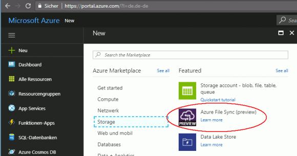 Azure File Sync steht aktuell in einer Preview zur Verfügung