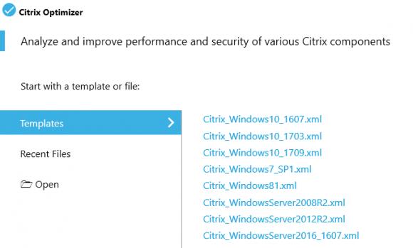 Zum Lieferumfang von Citrix Optimzer zählen Templates für die wichtigsten Windows-Versionen.