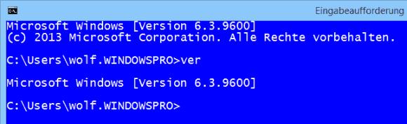 In diesem Beispiel zeigt der ver-Befehl den Build 9600 von Windows 8.1 an.