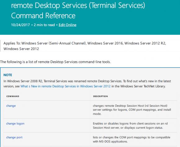 Befehlsübersicht für die Remote Desktop Services