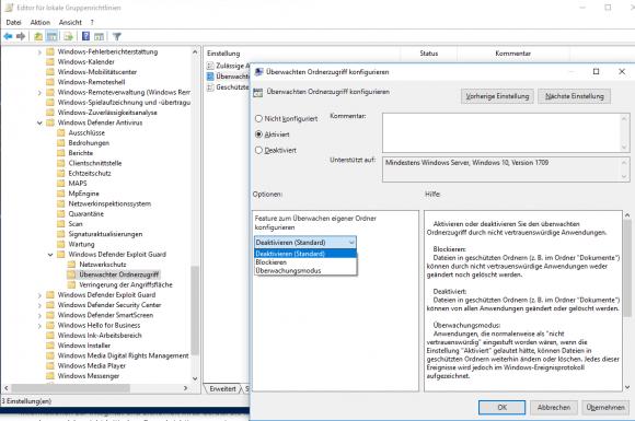 Aktivieren des Controlled Folder Access über Gruppenrichtlinien.