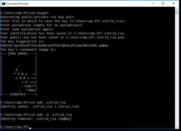 Schlüsselpaar für SSH generieren und Private Key zu ssh-agent zuweisen