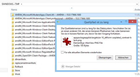 Der Explorer verweigert standardmäßig das Löschen von Dateien, wenn die Pfadlänge 260 Zeichen übersteigt.